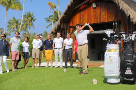 The-golfing-legend-hits-the-ceremonial-tee-shot-at-the-official-opening-of-his-Velaa-Golf-Academy-by-Olazabal